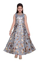 Designer Net Grey Printed Party Wear Gown Dress for Girls - $39.95