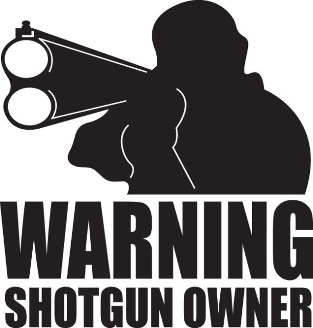 HUNT DECAL #HT3/196 WARNING SHOTGUN OWNER AMMO GUAGE CAR TRUCK AUTO SUV VAN BUS