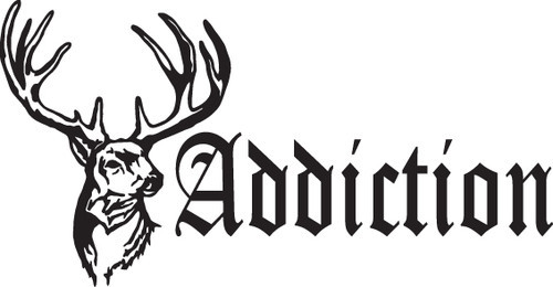 HUNT DECAL #HT3/232 ADDICTION DEER ANTLERS HORNS SHOTGUN CAR TRUCK AUTO SUV VAN