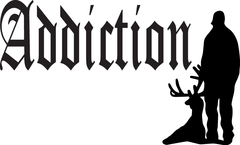 HUNT DECAL #HT3/256 DEER ADDICTION SHOOT GUN  RIFLE HORNS CAR TRUCK AUTO SUV VAN