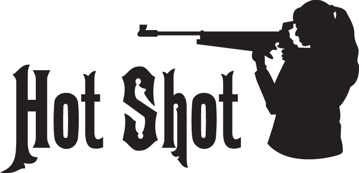 HUNT DECAL #HT4/102 HOT SHOT WOMAN GIRL LADY SHOOT RIFLE AMMO CAR TRUCK AUTO SUV