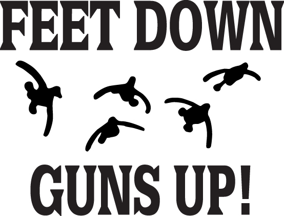 HUNT DECAL #HT4/108 FEET DOWN GUNS UP GEESE RIFLE AMMO FLY CAR TRUCK AUTO SUV