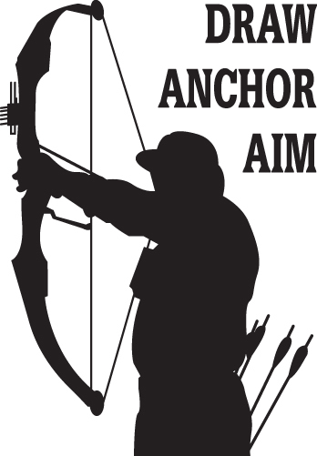 HUNT DECAL  #HT4/174 DRAW ANCHOR AIM BOW ARROW ARCHERY DEER SHOOT CAR TRUCK AUTO