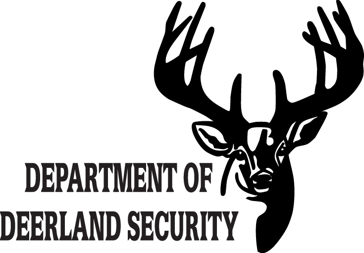 HUNT DECAL #HT4/82 DEPARTMENT DEERLAND SECURITY DEER TRACK CAR TRUCK AUTO SUV