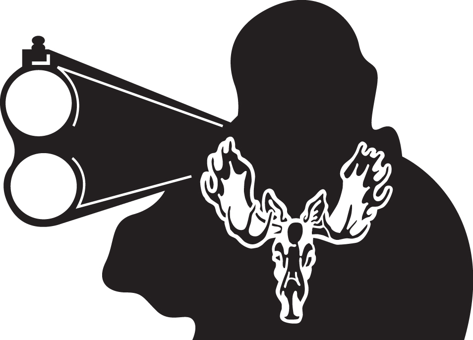 HUNT DECAL #HT5/184 MOOSE ANTLERS GUN SHOOT MAN AMMO NATURE CAR TRUCK SUV VAN