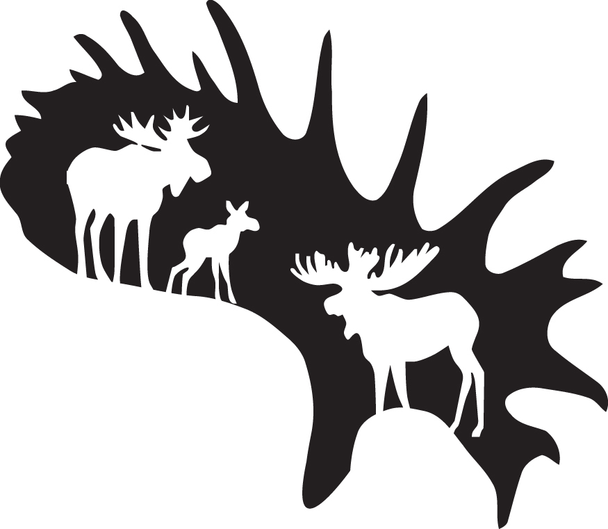 HUNT DECAL #HT5/209 ANTLER MOOSE NATURE SHOOT GRAZE GUN  CAR TRUCK AUTO SUV VAN