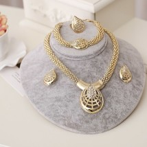 Beads Jewelry Sets Gold Wedding Bridal Fashion Women Necklace Earrings B... - $11.99