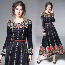 Women temperament Court fashion printing long Slim dress - $60.00