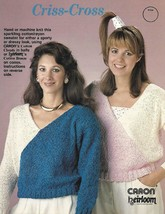 Caron Criss Cross Sweater to Hand or Machine Knit 1987 Cotton Rayon Blend Design - $4.74
