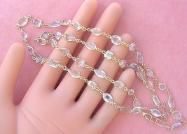 """ART DECO STYLE 43 carats MIXED AQUAMARINE BY-THE-YARD 28.25"""" CHAIN 18K N... - $2,474.01"""