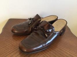 Ralph Lauren Brown Cordovan Leather Mules Women Size 7 B Bow Heels Brazil - $21.84