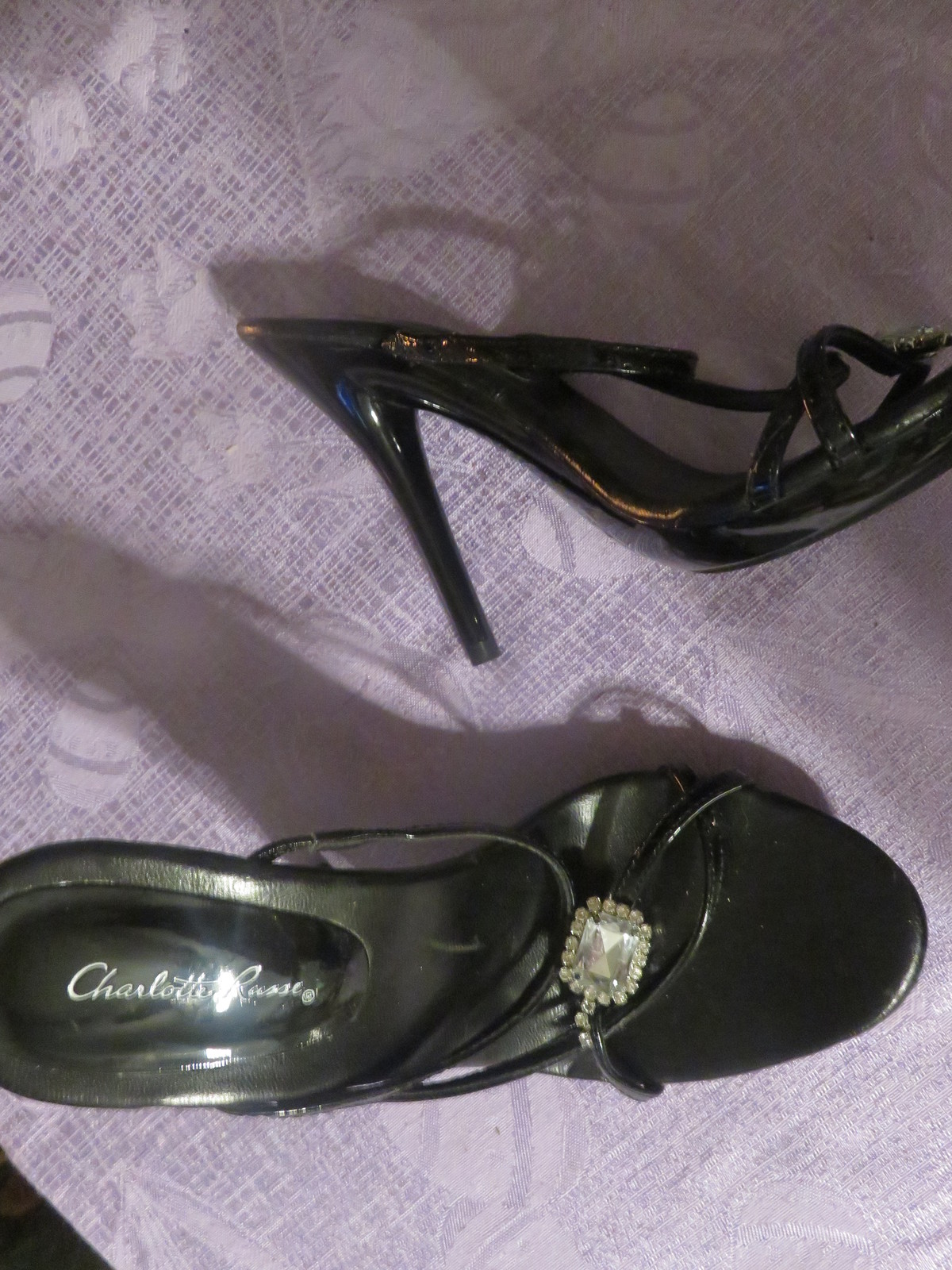 4d36a1705fbc CHARLOTTE RUSSE HIGH HEELS BLACK WITH RHINESTONES SIZE 6 GREAT FOR PROM NEW