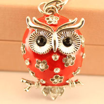 Red Flower Owl Fashion Keychain Rhinestone Crystal Charm Chain Cute #MCK11 - $18.17