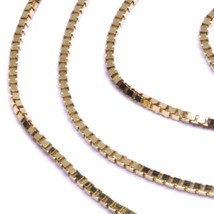 """SOLID 18K ROSE GOLD CHAIN 1.1 MM VENETIAN SQUARE BOX 17.7"""", 45 cm, ITALY MADE image 2"""