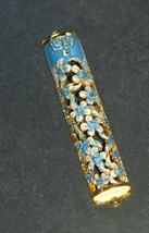 Judaica Mezuzah Case Gold Enamel Decorated Jeweled Aqua Crystals 8 cm Menorah image 3
