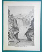 AFRICA Uganda Murchison's Falls on Nile River - 1877 Wood Engraving Illu... - $8.09