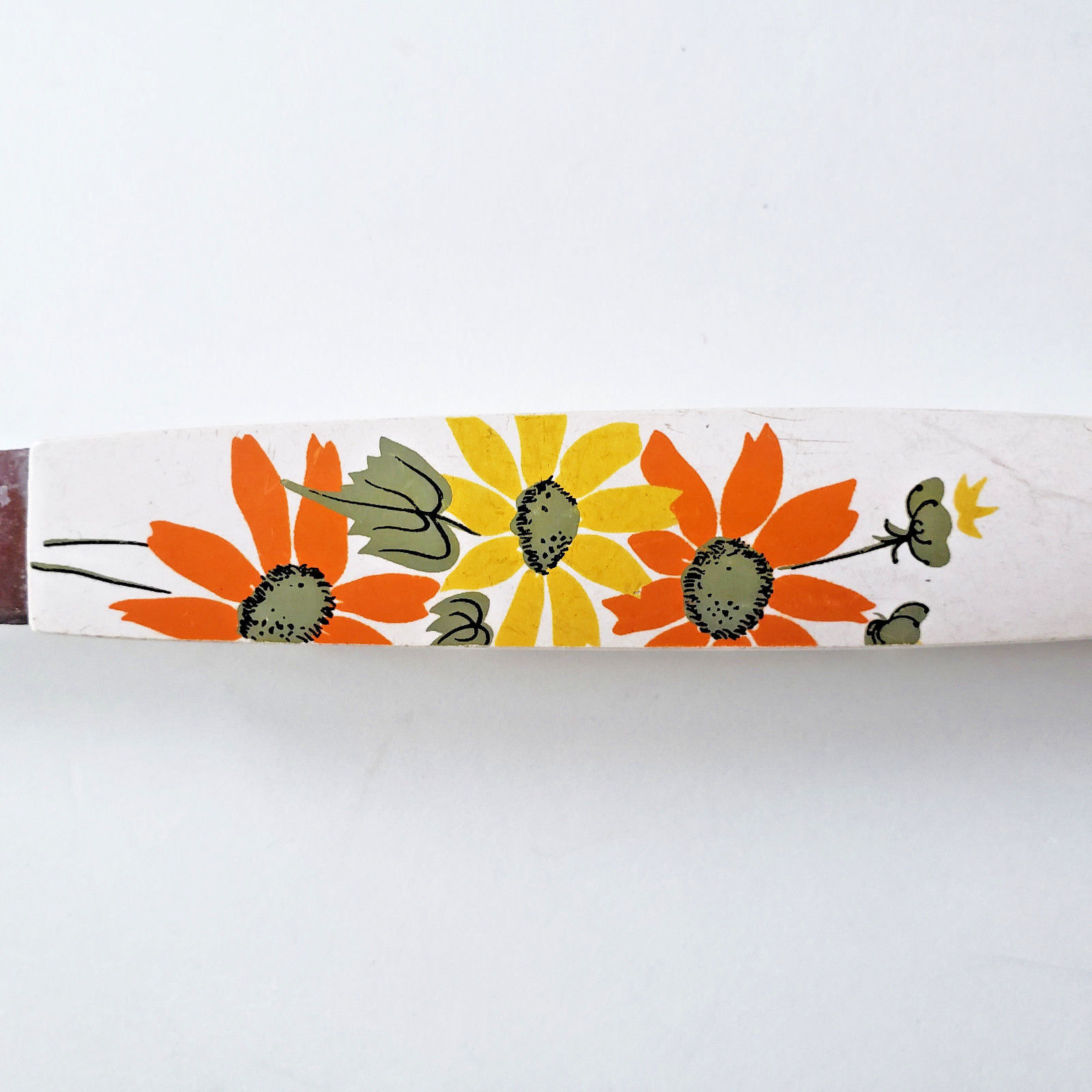 Ekco MCM Meat Carving Fork White Handle Orange Yellow Flowers USA Stainless image 12