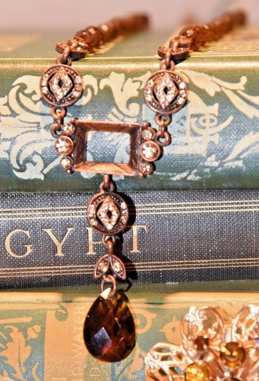 """2028 /1928 VINTAGE STYLE BRASS BROWN PRONG SET RHINESTONE DROP NECKLACE 14.5""""L - $34.99"""