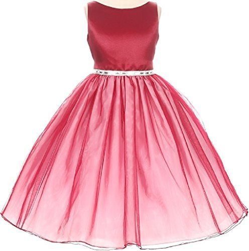 Little Girls Sleeveless Shiny Glitter Waist Bridesmaid Easter Flowers Girls Dres