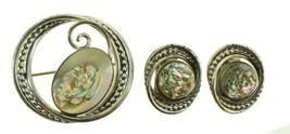 Vintage Sterling Mid Century La Jolla-Jensen Abalone Designer Pin Earrin... - $68.39