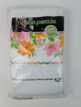 Vintage White Percale Pillowcases (2) embroidered edge w/ flower print i... - $28.04