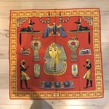 Hermes Scarf Stole TUTANKHAMUN Egypt King Red Silk 100% Carre 90 Auth Mi... - $635.73