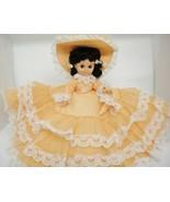 Gambina Doll Southern Belle Orange Dress Hat Parasol Black Hair Blue Sle... - $14.84