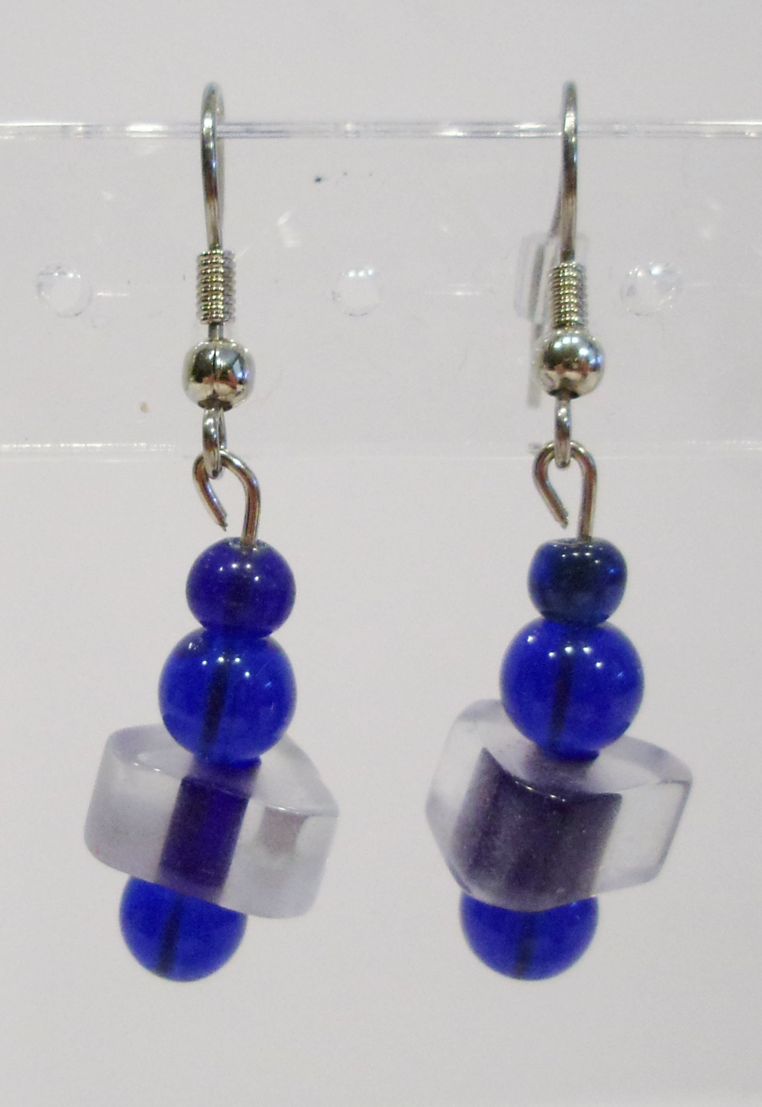 handmade blue and clear glass beaded drop earrings