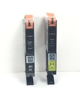 (2) Canon CLI-251XL Yellow & Black Ink Cartridges Factory SEALED/NO BOX/ Genuine - $21.06