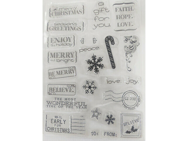 Christmas Sentiments and Icons Clear Stamp Set