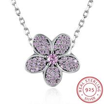Necklace Sterling Silver Pave Pink Floral Charm Necklace - $107.99