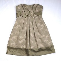 BCBG MAX AZRIA Taupe Gathered Cotton Silk Floral Strapless Empire Mini Dress 2 - $19.79