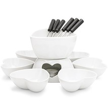 Zen Kitchen Fondue Pot Set, Glazed Ceramic Fondue Set for Chocolate Fond... - $31.02