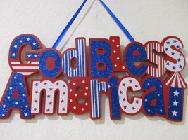 "Patriotic 4th of July Hanging GOD BLESS AMERICA Wall Door Sign Decor 16.5"" - €16,27 EUR"
