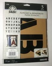 "Plaid Folkart Paper Stencils ~ Alphabet & Monogram ~ 5"" Script ~ NEW - $13.85"