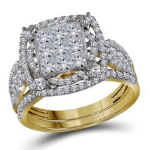 14kt Yellow Gold Princess Diamond Bridal Wedding Engagement Ring Set 2.00 Ctw - $2,137.24