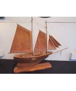 "Vtg Philippine Handicrafts Carved Wood Sailing Ship Schooner 21"" Tall 25... - $123.86"