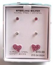 Ragazze Argento Sterling 925 Trasparente Rosa Cristallo Cuore Post Orecchini New image 1