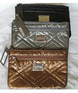 Kenneth Cole Reaction New Clutch Purse Women's Quilted Flat Pouch Metall... - $14.35