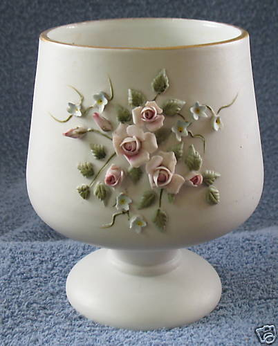 LEFTON FOOTED CANDY BOWL HAND PAINTED APPLIED FLOWERS