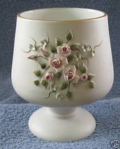 LEFTON FOOTED CANDY BOWL HAND PAINTED APPLIED FLOWERS - $14.35