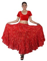 RED Cotton JAIPUR 25 Yard 4 Tier Gypsy Skirt American Belly Dance Polka Dot - $47.91