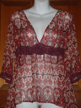 CAbi Top Peasant Ikat Blouse Red  Boho 100% Silk Sheer Style #587 Size S... - $18.55
