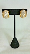 Swarovski Wide Huggie Half Hoop Clip On Earrings Yellow Gold Tone Swan Backstamp - $49.99