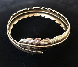 LEAF Wrap Bangle Vintage BRACELET in Gold-Tone - 8 1/2 inches - FREE SHI... - $19.95