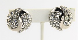 ESTATE VINTAGE Jewelry SIGNED TRIFARI RHINESTONE CLIP EARRINGS - $15.00