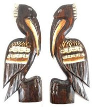 2 Hand Carved Set Of Brown Wood Pelicans Wall Art Hang On Wood Piling, Tropical - $49.73