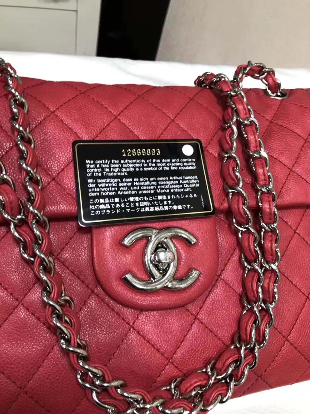 2f9093d8bd1ee5 AUTHENTIC CHANEL MAXI RED PINK QUILTED SOFT CAVIAR CLASSIC FLAP BAG ...