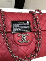 AUTHENTIC CHANEL MAXI RED PINK QUILTED SOFT CAVIAR CLASSIC FLAP BAG SHW image 4