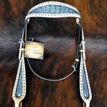 Hilason Western Horse Headstall Bridle American Leather Crocodle Embossed U-C-HS - $64.30